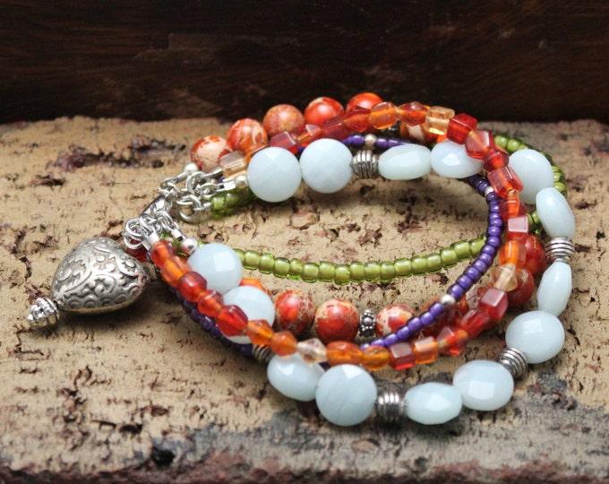 """Western Sky"" Five-Strand Beaded Bracelet"