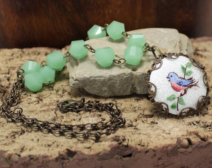 """Tweet"" Enameled Pendant with Beaded Necklace"