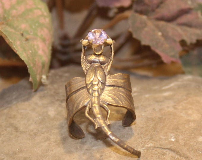"""Dragonfly's Fancy"" Adjustable Brass Ring"