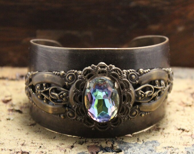 """Jeweled"" Filigree Cuff Bracelet"