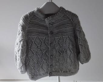 Hand Knitted Baby Jumper/Sweater in 100% Pure Merino Wool. 0/6 Months.