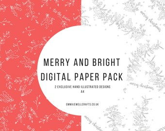Merry and Bright Christmas Paper Download digital. Scrapbooking, craft supplies, background.