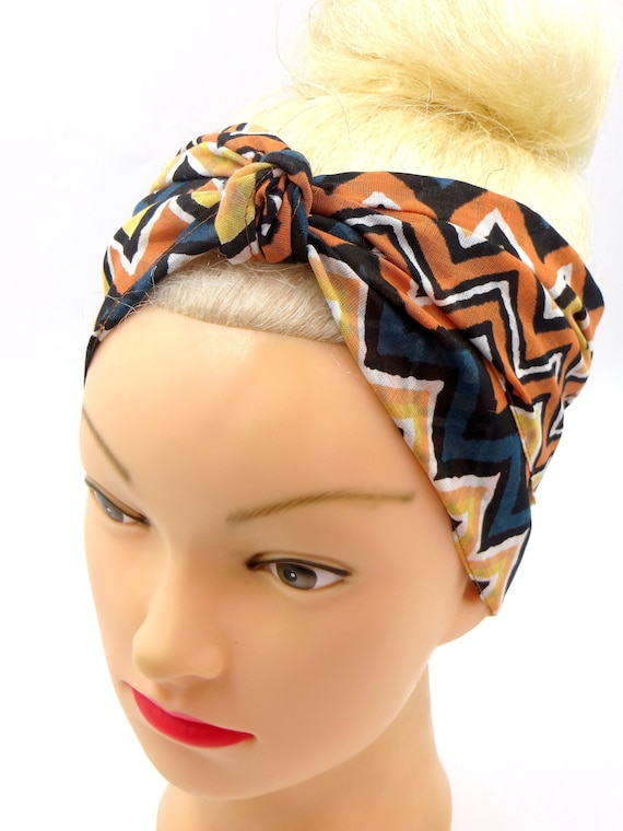 HEAD SCARF HAIR BAND BLACK orange PALM TROPICAL large LEAF TIE BOW  ROCKABILLY