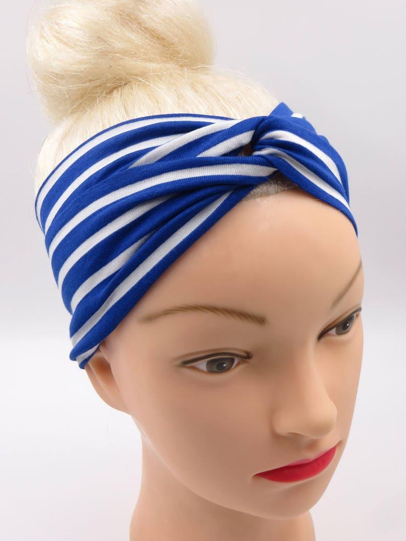 71d708308d0f59 Breites Stirnband gestreift Bandana Strand Streifen blau weiß | Etsy