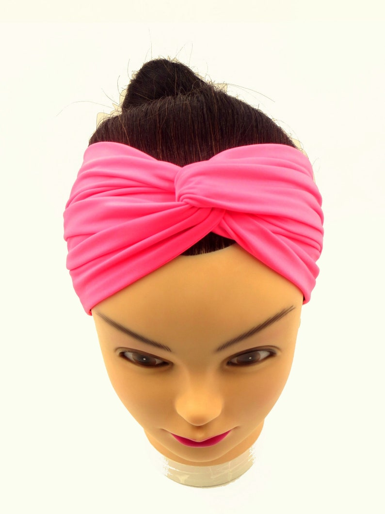 fda0f613b029 Extra wide neon pink headband Neon Pink Head wrap workout Yoga