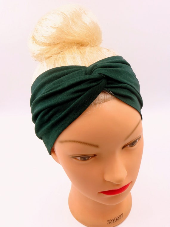 Dark green turban Twist Headband Petrol Headwrap workout head  5d936f470fe