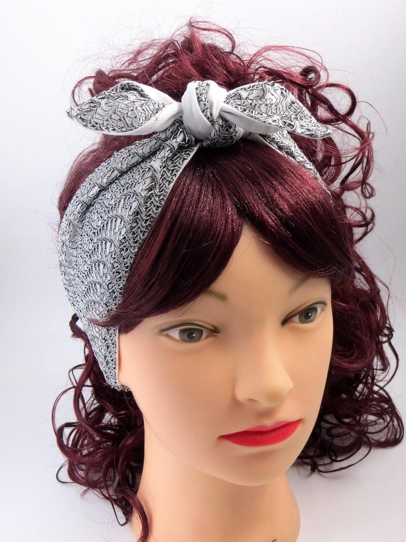 dba379c240c50 Fascia per capelli rétro stile pin up fascia cotone bianco