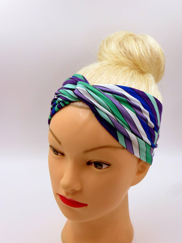 Farbe-VIBES gestreiften Twist Stirnband Turban Stirnband