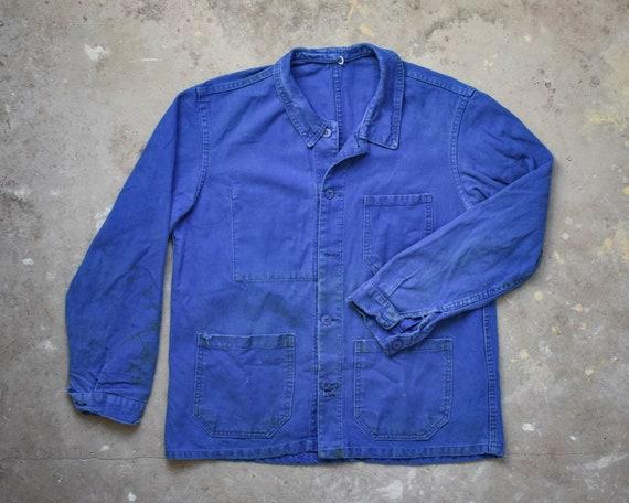 Vintage 50's French Indigo Cotton Worker Jacket Ch