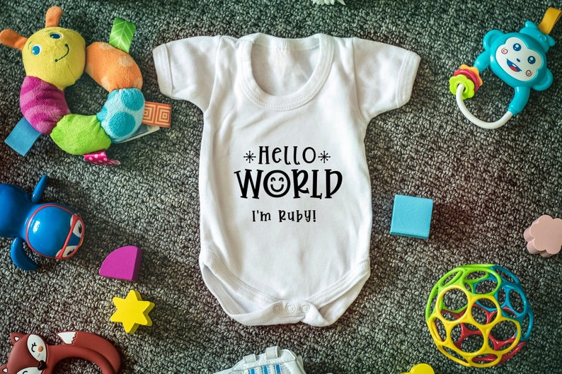 Personalised baby vest name bodysuit new baby shower gift hello world