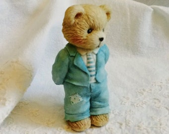Cherished Teddies dated 1993 Customer Appreciation Teddy Limited Edition Collectibles Enesco Pink Dress and Bonnet