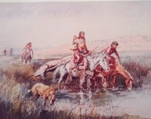 Indian Women Moving Camp by Charles Russell Vintage Poster Native American Art