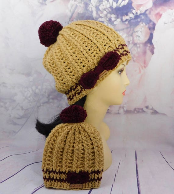 Brown Mommy and me set | matching Hat set | Beanie set | Baby hat | Mommy hat set | with pom pom