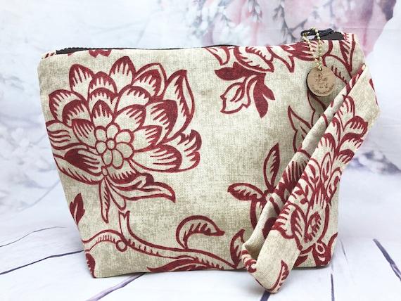Red floral Travel bag| accessories bag| makeup bag| Travel bag