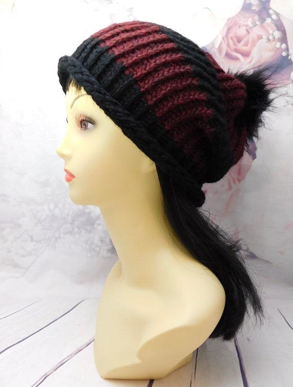 Black beanie |striped Hat| Winter Beanie|winter hat| Knit hat|Knit beanie|Ribbed beanie| with pom pom