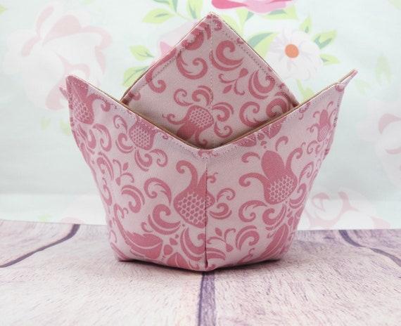 Pink Microwave Bowl cozy| Soup bowl cozy| Reversible bowl cozy| quilted bowl cozy| microwaveable safe bowl cozy