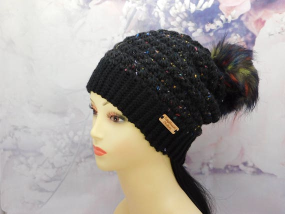 Black Beanie, Black hat, black crochet beanie, Tweed hat,beanie, Winter hat, Hat, faux fur pom pom