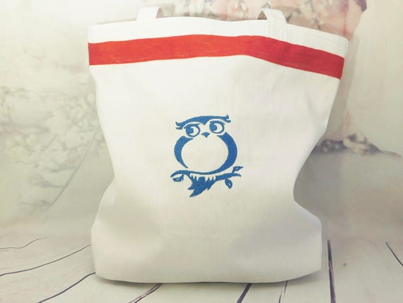 Owl tote bag| Bird| owl shopping bag| embroidery owl| fully lined with pockets| ribbon edging| 13 x 13