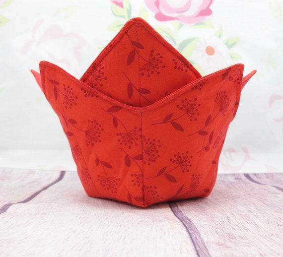 Red Microwave Bowl cozy| Soup bowl cozy| Reversible bowl cozy| quilted bowl cozy| microwaveable safe bowl cozy