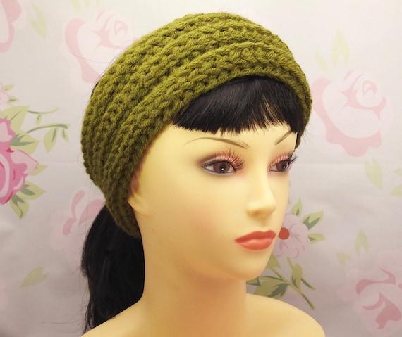 Knit-look wide ribbed headband crochet digital pattern
