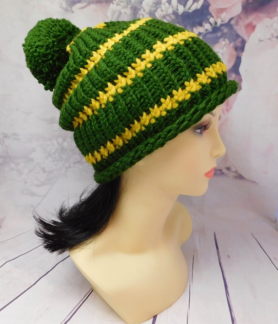 Team spirit hat|| Knit hat| simple ribbed beanie| team spirit beanie| green beanie| 22 cir X 9 height