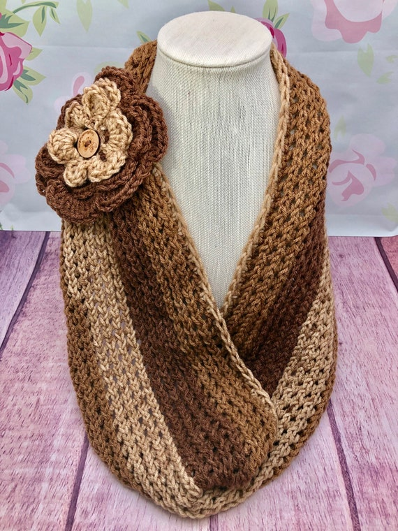 Beautiful Tri-Color Cowl Scarf| Brown tone Cowl scarf| Scarves| Gray Colors Cowl | 10 x 32 inches