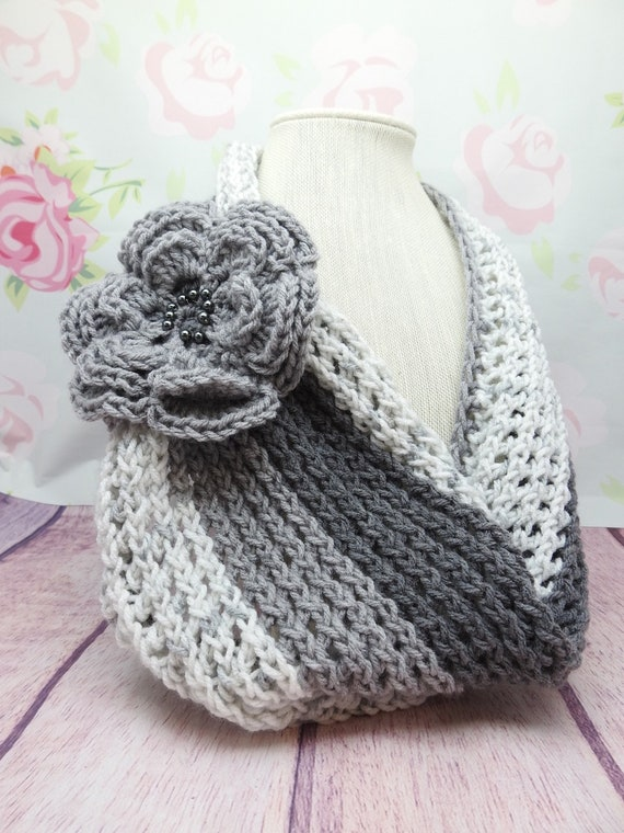 Beautiful Tri-Color Cowl Scarf| Gray tone Cowl scarf| Scarves| Gray Colors Cowl | 10 x 32 inches
