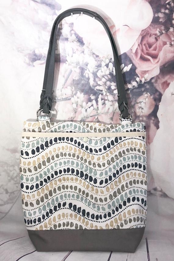 Stripe, dots tote| Gray and Beige tote| Gray canvas tote| Medium size purse| Canvas purse| tote with pockets| 13 x 13
