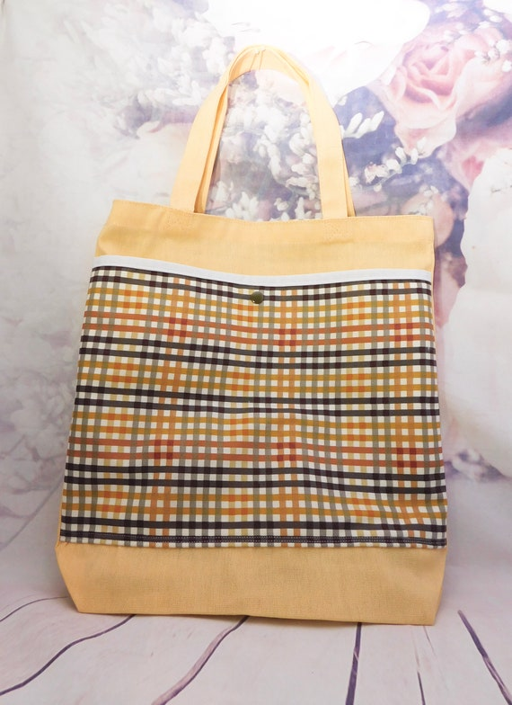 Fall tote bag| Plaid tote| Autumn tote|cotton tote bag|tote|canvas|Shopper bag|tote with pockets|13x14