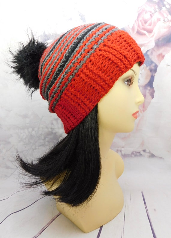Black or Red Beanie, Black striped hat, black crochet beanie, red striped hat, beanie, Winter hat, crocheted Hat, faux fur pom pom