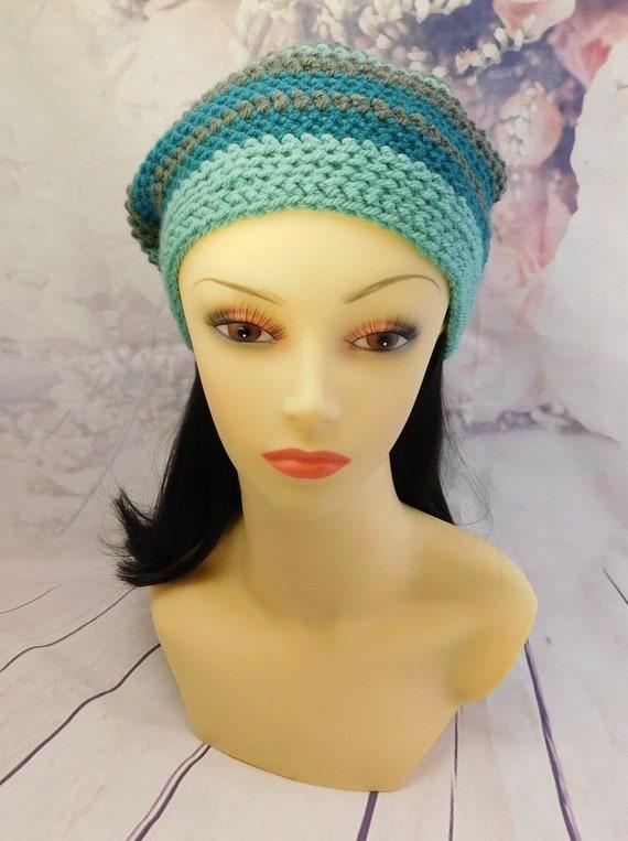 Crochet striped hat| Sea green hat| Beanie| Winter beanie| Green hat| With pom pom