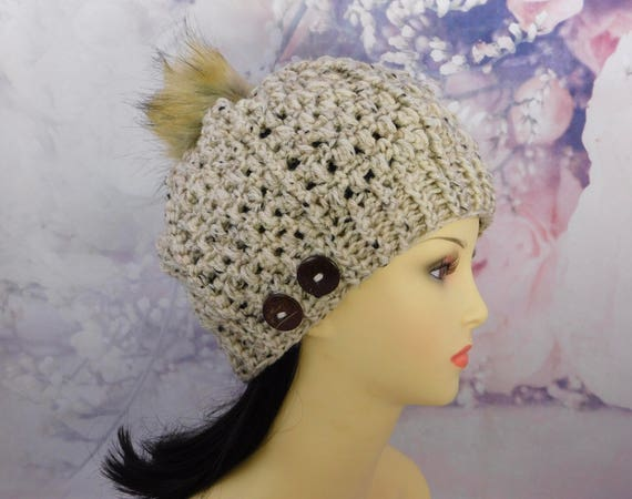 Beautiful Crochet Hat| Beanie| Tweed Beanie| Tweed hat| Removable Pom Pom