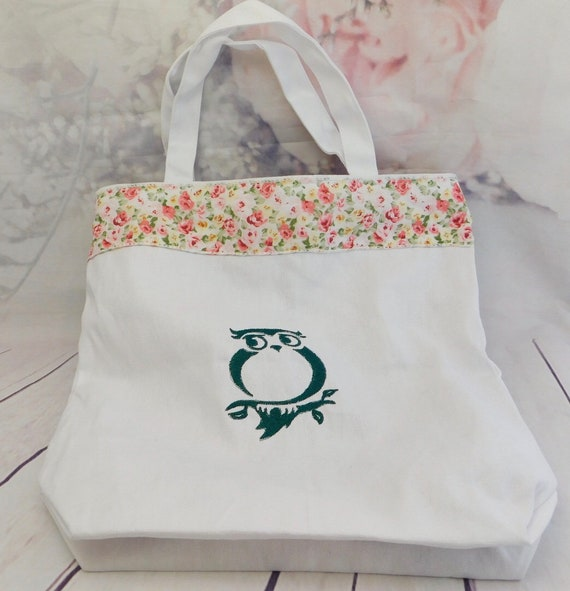 Owl and floral tote| Bird| owl shopping bag| embroidery owl| fully lined with pockets| ribbon edging| 13 x 13