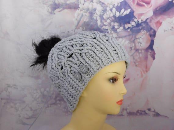 Crochet Gray Messy Bun Hat| Gray messy bun hat| Gray mess bun beanie
