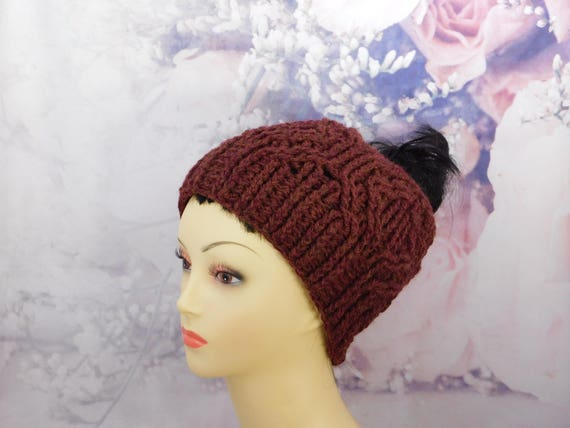 Crochet red messy bun hat| Messy bun hat| Red beanie