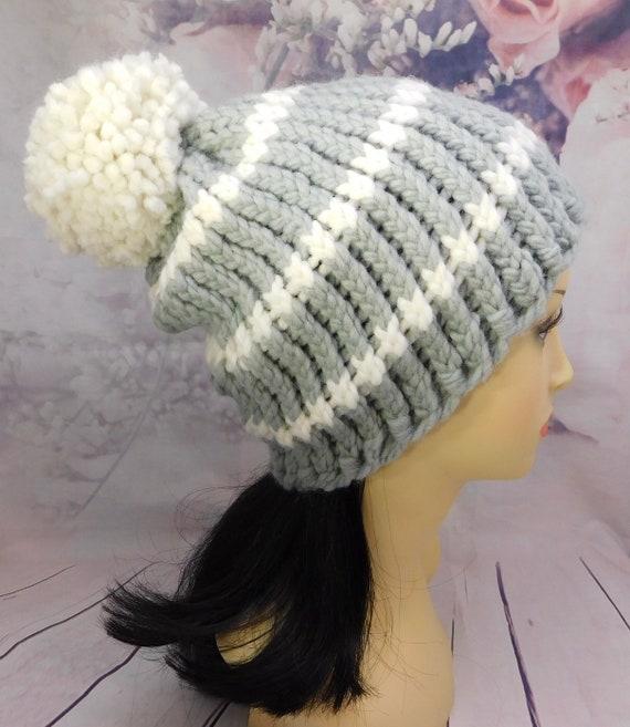 Gray beanie| Striped ski beanie| knit beanie| winter hat| gray and white knit hat with pom pom