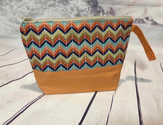 chevron Cosmetic bag| accessories bag| makeup bag| Travel bag| 8 x 6 inches