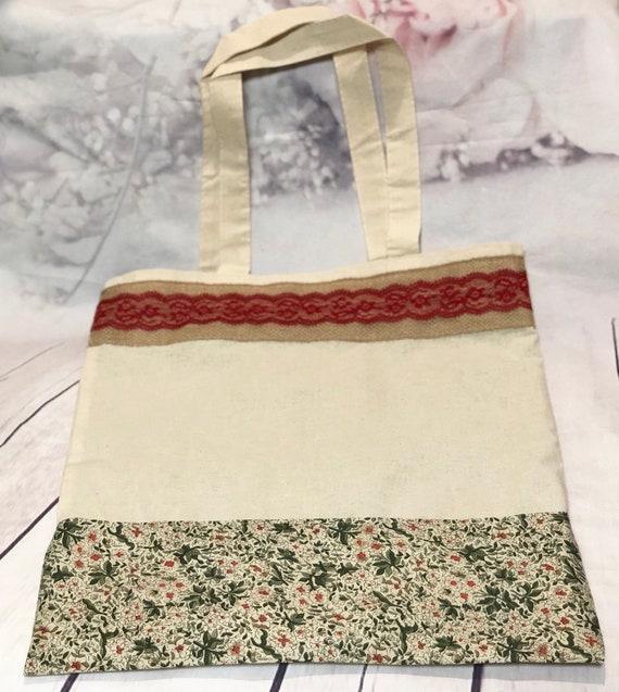 Floral tote bag| Red and green tote bag| Tote| Bag