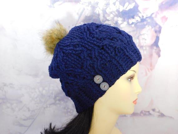 Crochet Blue Hat| Blue Beanie| Blue Hat| w/removable Pom Pom