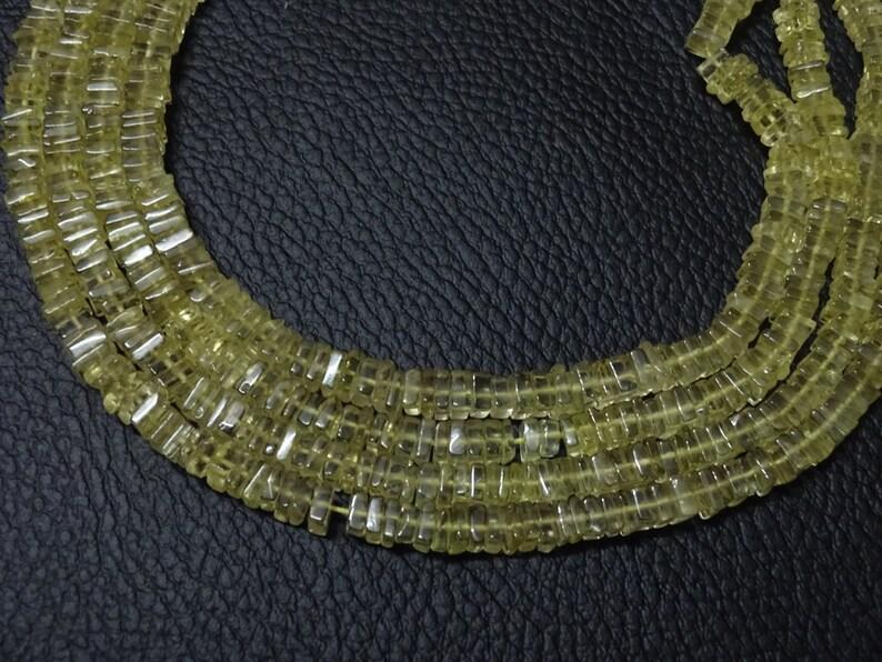 5mm Each Lemon Quartz Heishi Spacer Beads 16 Inch Full Strand