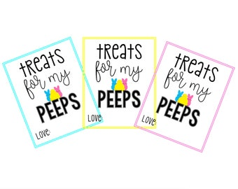 Treats for my Peeps Tag – Printable Easter Tags – Easter Gift Tags – Peeps Easter Printable Tags – Hoppy Easter – Digital Easter – Bunny Tag