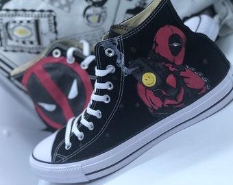 c5a18d781989 Deadpool Shoes - Handpainted customized