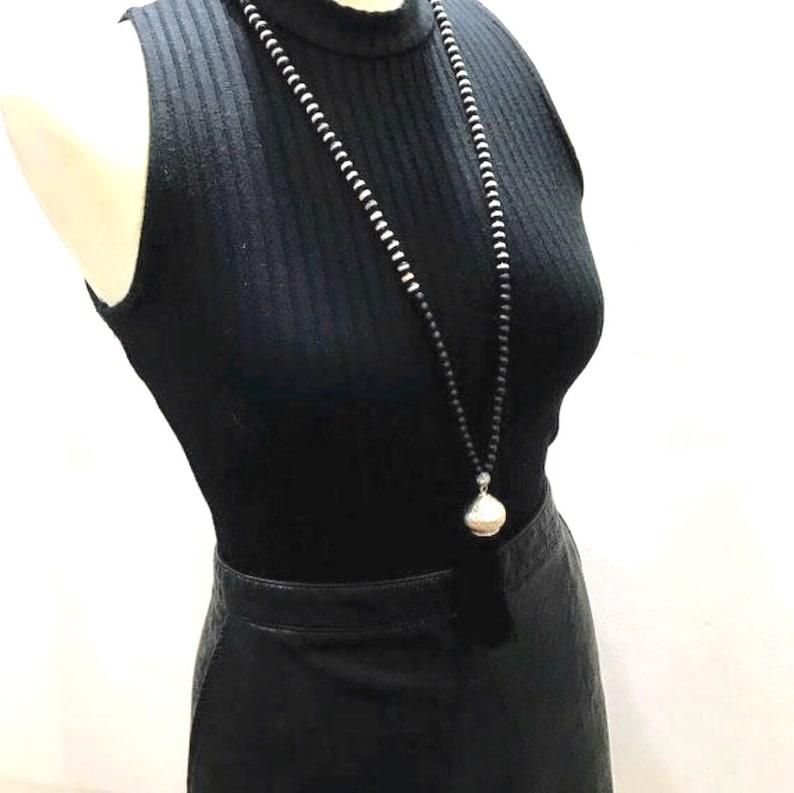 long black and white Mala necklace long black bead necklace black and white necklace gift for her necklace Long black tassel necklace