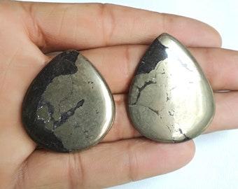 148Cts Pear Shape Golden Peruvian Pyrite Chalcopyrite Loose Gemstone Solar Plexus Chakra Healing 2Pcs Natural Golden Pyrite Cabochon