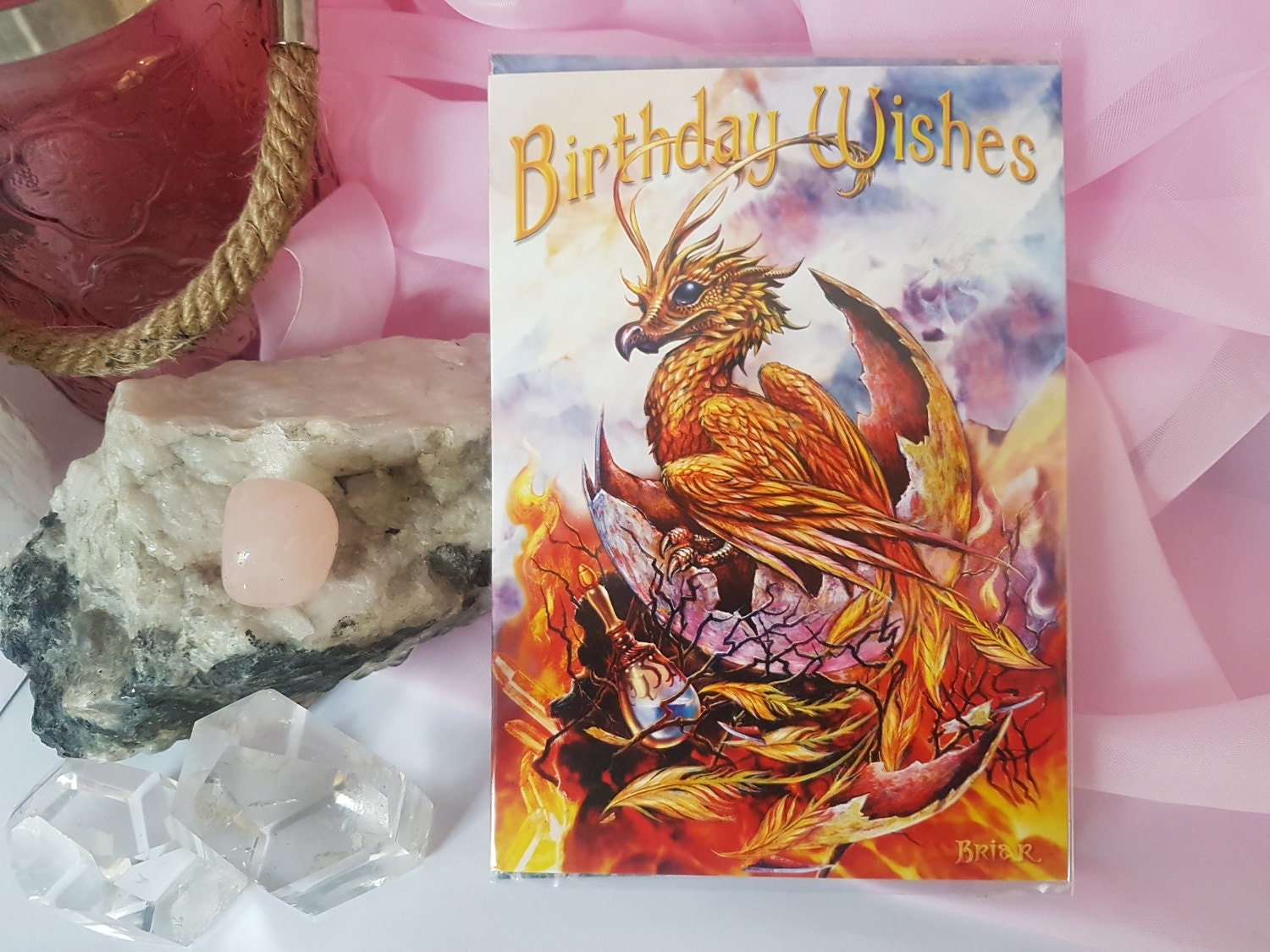 Golden Phoenix Birthday Card