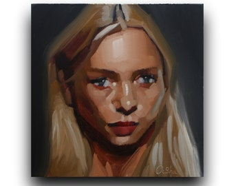 """original oil painting, portrait oil painting,small painting,pallet knife painting,abstract painting,portrait painting, wall art,6""""*6""""inches"""