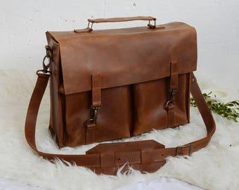 Leather Briefcase Bag Leather Satchel Briefcase Men Satchel Vintage Leather Bag For Work Handmade Briefcase Cross Body Bag Brown Bag Leather