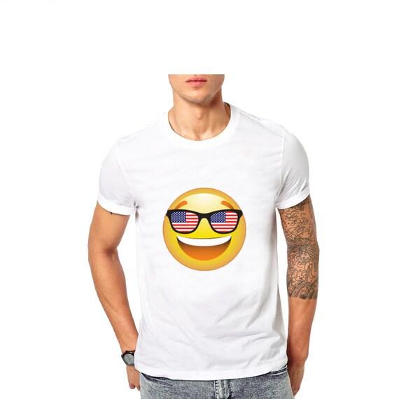 Emoji T 4 Américain Chemise Juillet Usa Tee Drapeau Patriotique Noir Lunettes Drôle De Homme Shirt Ybgyv67f
