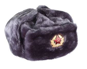 7b9d65e5eeb Russian   USSR Army Winter Gray Fur Ushanka Hat + Soviet Red Star Badge  Sizes S