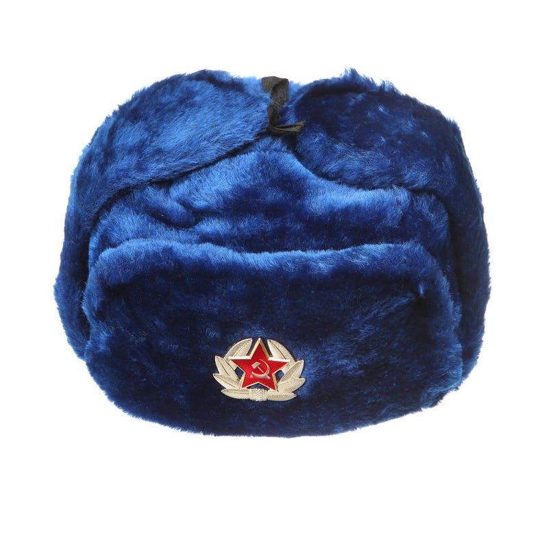Russian / USSR Army winter dark blue fur Ushanka Hat + Soviet Red Star  badge Sizes S,M,L,XL,XXL